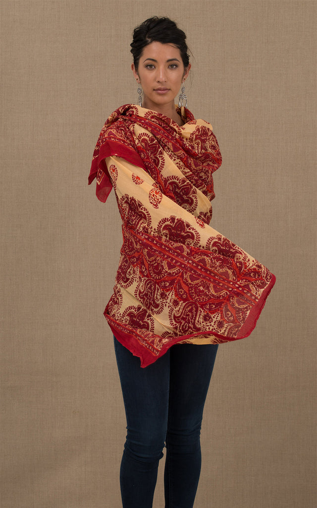 Hand Block Print Sarong/Shawl Red & Gold Border Paisley