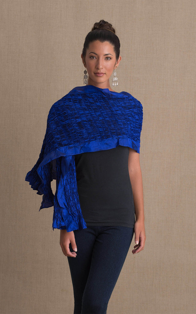 Thai Silk Shawl, Royal Blue