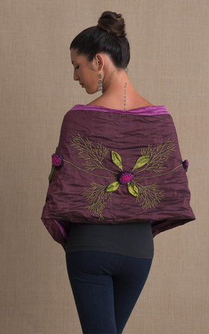 Rose Shawl, Dark Purple & Orchid