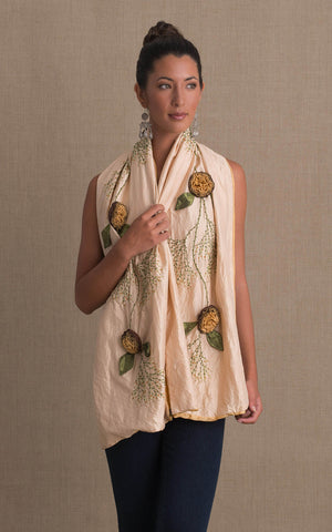 Rose Shawl, Cream & Lt. Gold