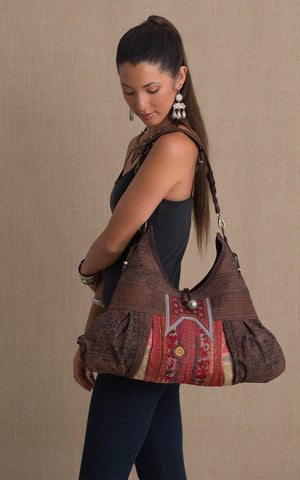 Hill Tribe Hobo Bag, Brown