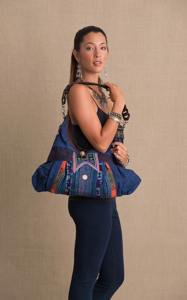 Hill Tribe Hobo Bag, Indigo