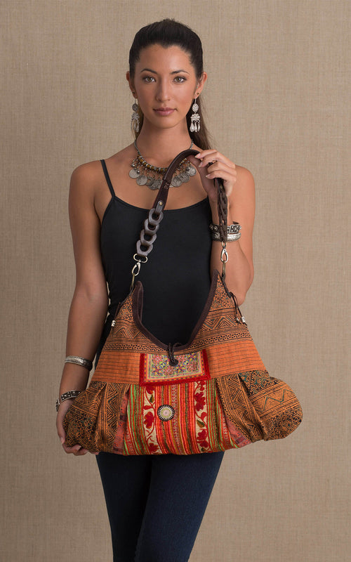 Hill Tribe Hobo Bag, Orange