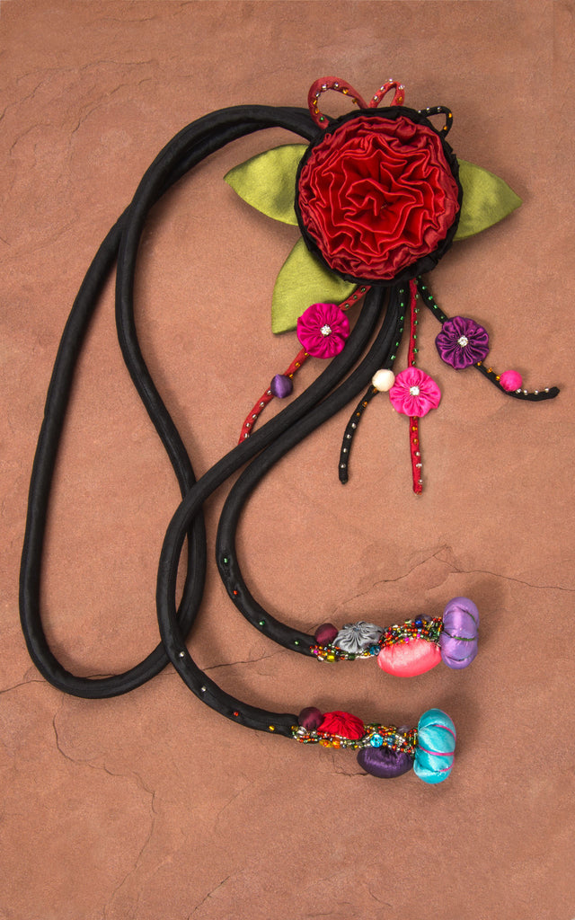 Black Cord & Red/Black Rose