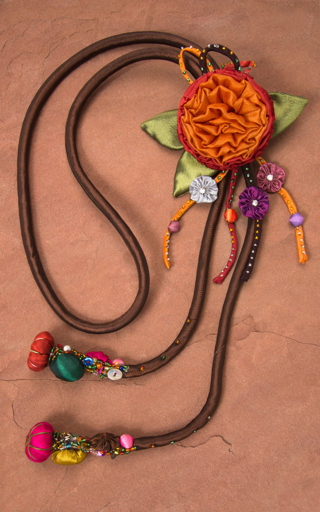 Brown Cord & Orange/Red Rose