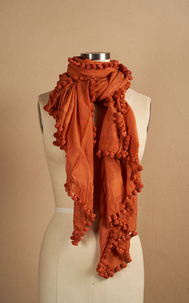Pom Pom Shawl, Burnt Orange