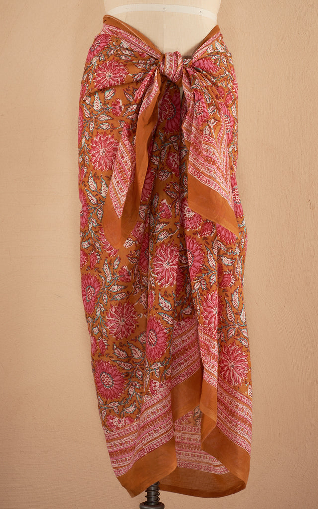 Sarong/Shawl, Orange & Pink Floral
