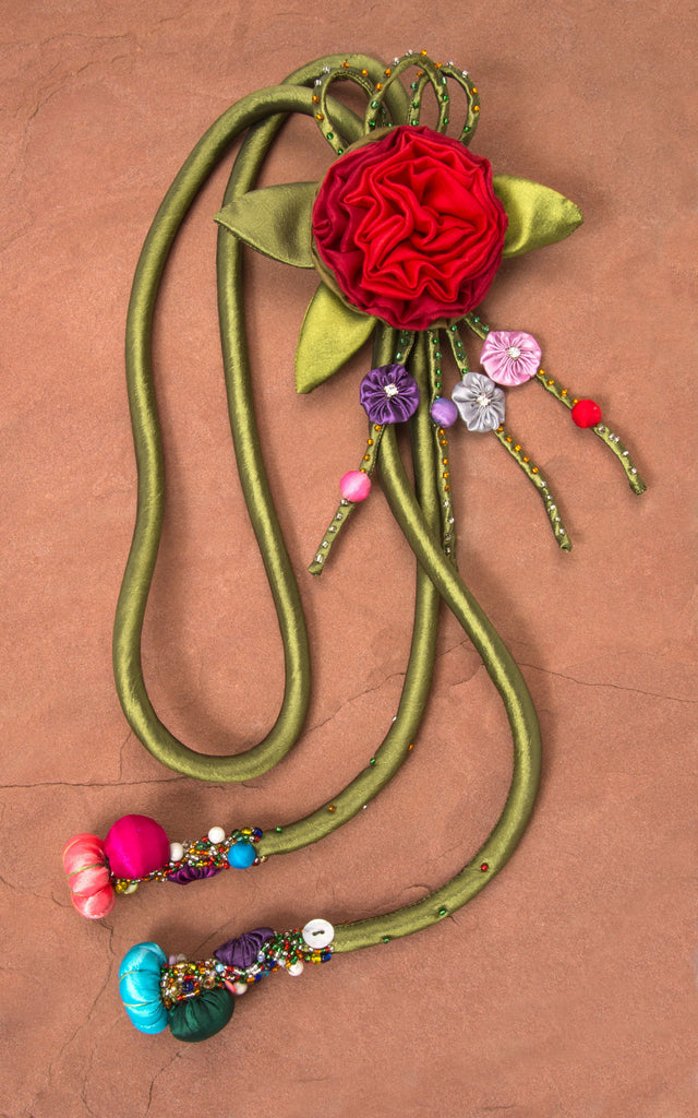 Green Cord & Red/Green Rose