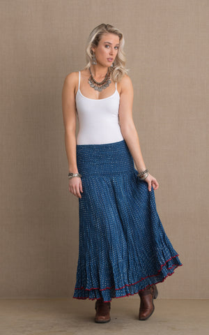 Macarena Skirt, Long, Indigo Dot