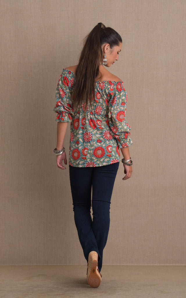 Adelita Blouse, 3/4 Sleeve, Turquoise & Orange Floral