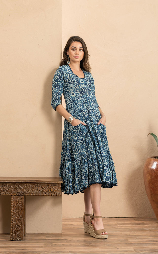 Santa Fe Dress, Long, 3/4 Sleeve, Indigo Mosaic