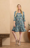Santa Fe Dress, Short, 3/4 Sleeve, Aqua Coquette
