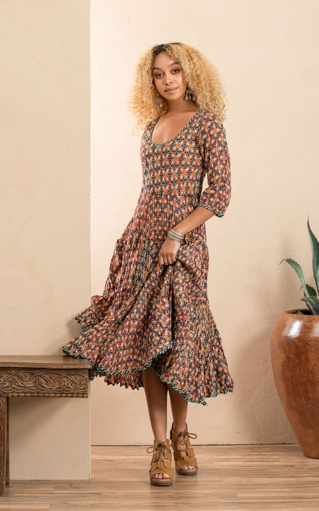 Santa Fe Dress, Long, 3/4 Sleeve, Multi Retro Floral