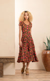 Santa Fe Dress, Long, Cap Sleeve, Alegra Floral