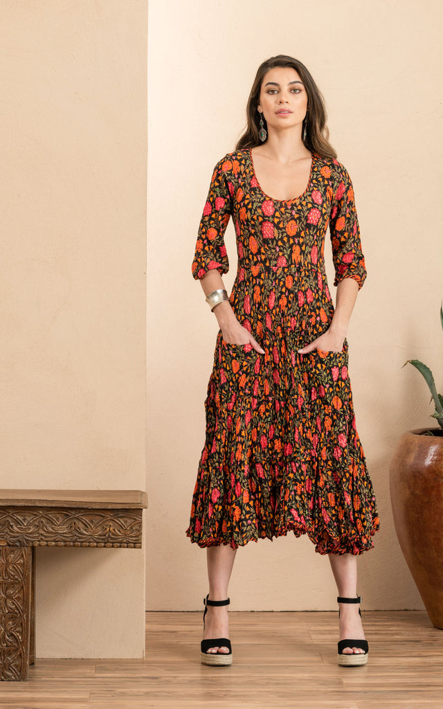 Santa Fe Dress, Long, 3/4 Sleeve, Alegra Floral