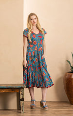 Santa Fe Dress, Long, Cap Sleeve, Siona Floral
