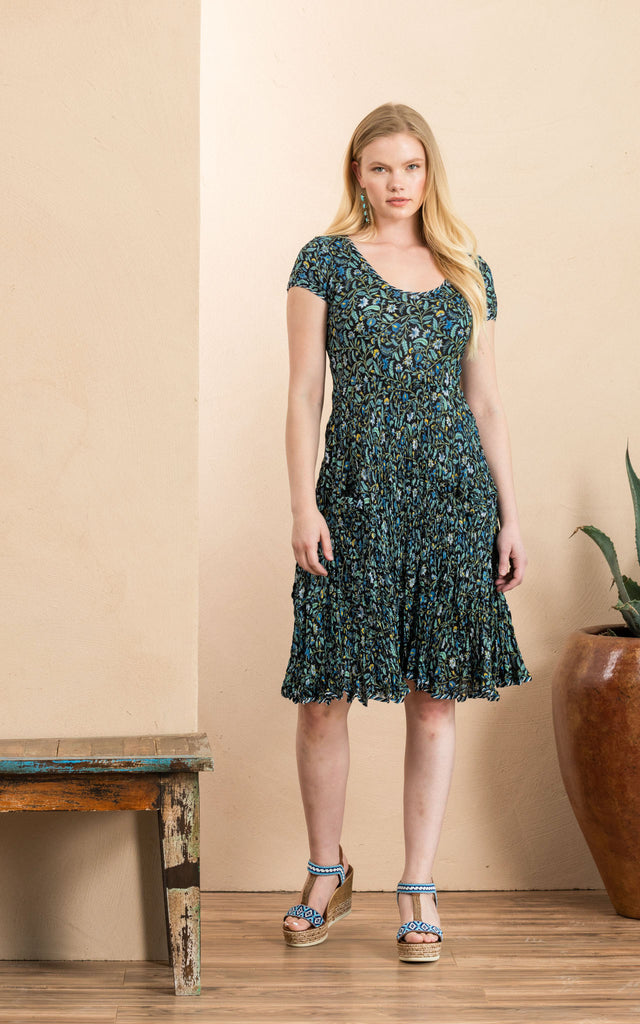 Santa Fe Dress, Short, Cap Sleeve, Annabelle Blue
