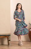Santa Fe Dress, Long, 3/4 Sleeve, Turquoise Coquette