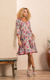 Santa Fe Dress, Short, 3/4 Sleeve, Desert Bloom