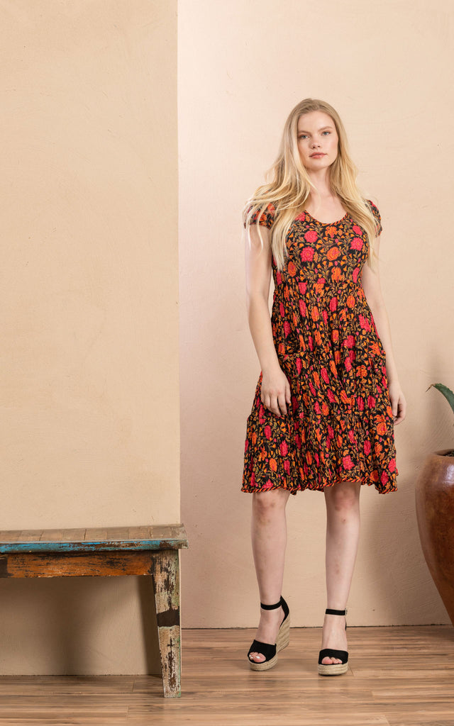 Santa Fe Dress, Short, Cap Sleeve, Alegra Floral