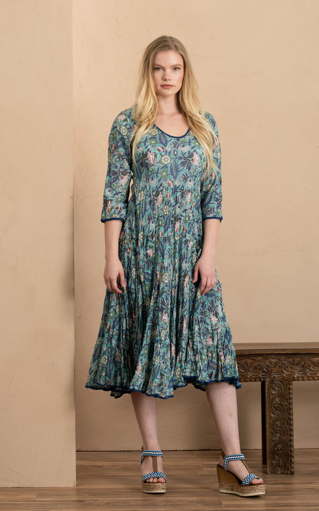 Santa Fe Dress, Long, 3/4 Sleeve, Aqua Coquette