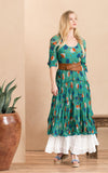 Santa Fe Dress, Long, 3/4 sleeve, Turquoise Poppy
