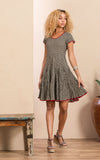 Santa Fe Dress, Short, Cap Sleeve, Black Dot