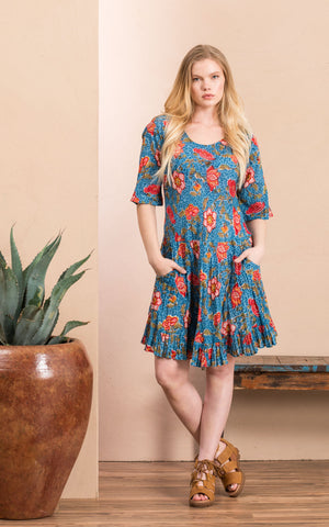 Sedona Dress, Short, 3/4 Sleeve, Siona Floral