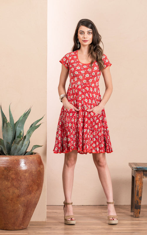 Santa Fe Dress, Short, Cap Sleeve, Davina Red