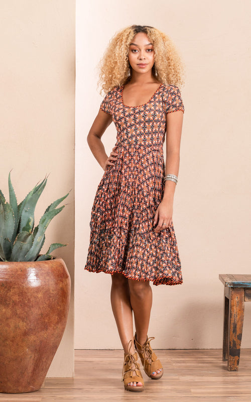 Santa Fe Dress, Short, Cap Sleeve, Retro Floral Multi