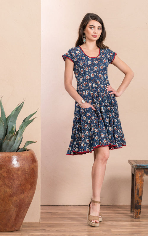 Santa Fe Dress, Short, Cap Sleeve, Morning Glory