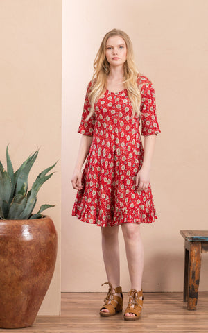 Sedona Dress, Short, 3/4 Sleeve, Davina Red
