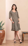 Sedona Dress, Short, 3/4 Sleeve, Black Dot