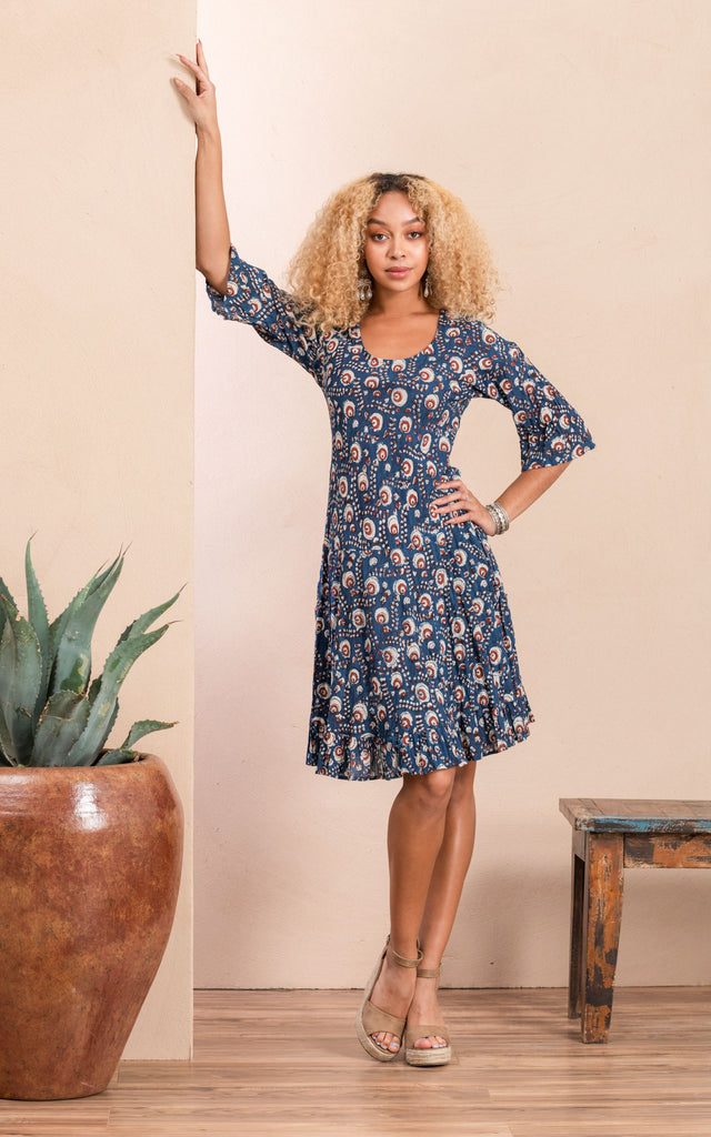 Sedona Dress, Short, 3/4 Sleeve, Morning Glory