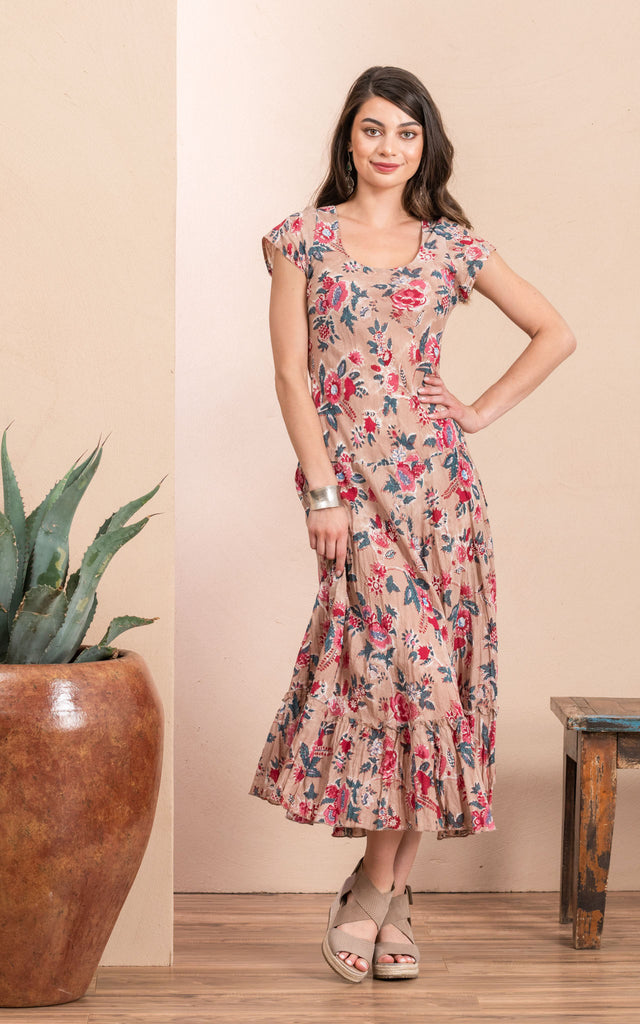Sedona Dress, Long, Cap Sleeve, Desert Bloom