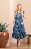 Sedona Dress, Long, Cap Sleeve, Indigo Rose