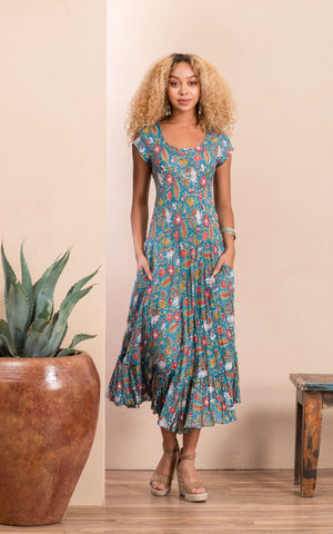 Sedona Dress, Long, Cap Sleeve, Turquoise Coquette