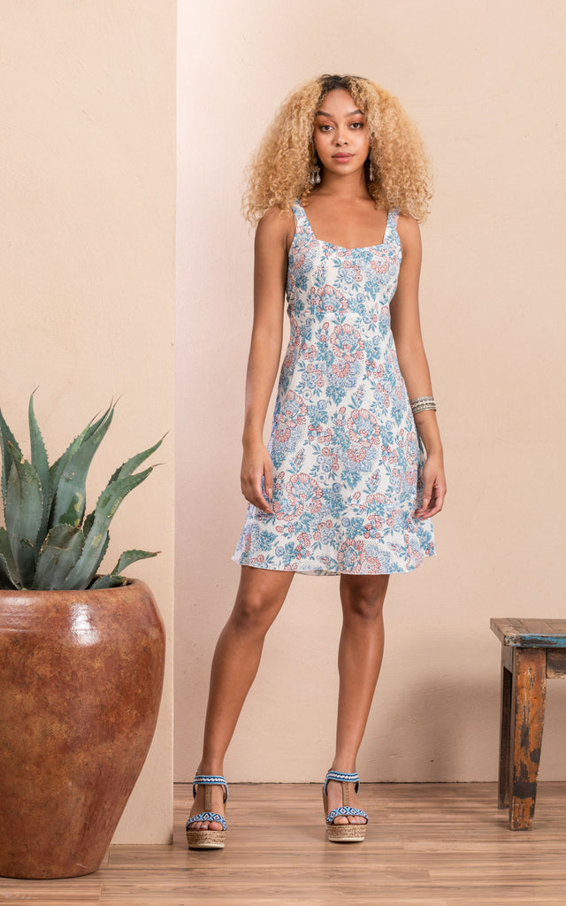 Yuma Slip Dress, White Blossom