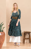 Santa Fe Dress, Long, 3/4 Sleeve, Annabelle Blue