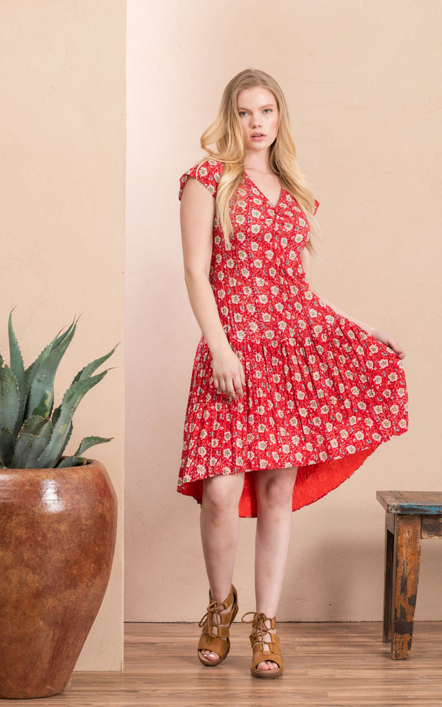 Carlota Dress, Cap Sleeve, Davina Red