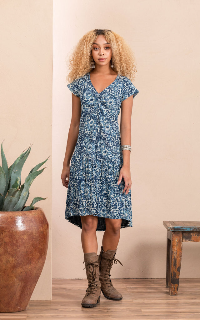 Carlota Dress, Cap Sleeve, Indigo Mosaic
