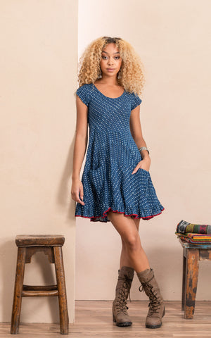 Santa Fe Top, Cap Sleeve, Indigo Dot