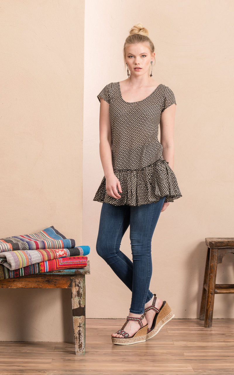 Luna Tunic, Black Dot