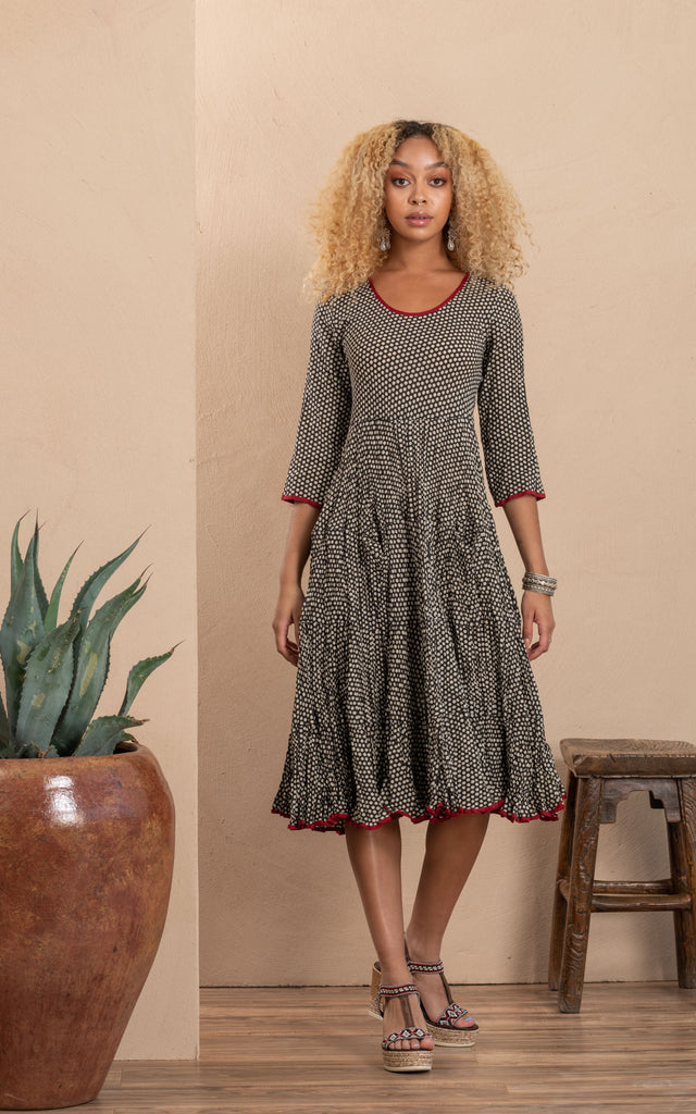 Santa Fe Dress, Long, 3/4 Sleeve, Black Dot