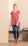 Peplum Top, Davina Red