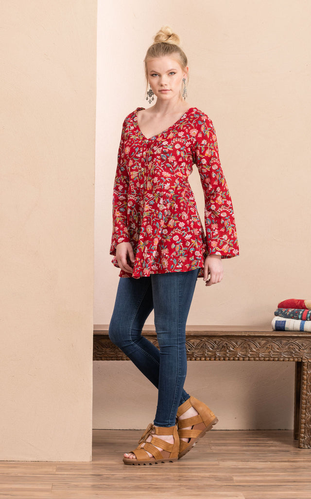 Peplum Jacket, Wildflower Red