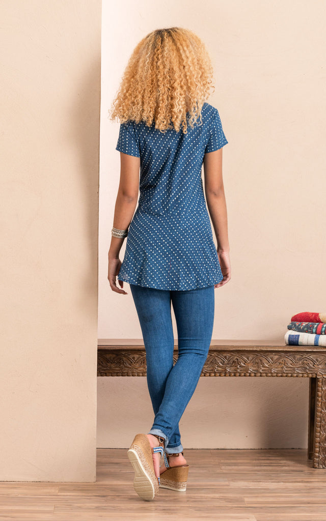Peplum Top, Indigo Dot