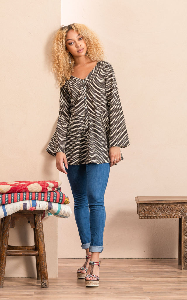 Peplum Jacket, Black Dot