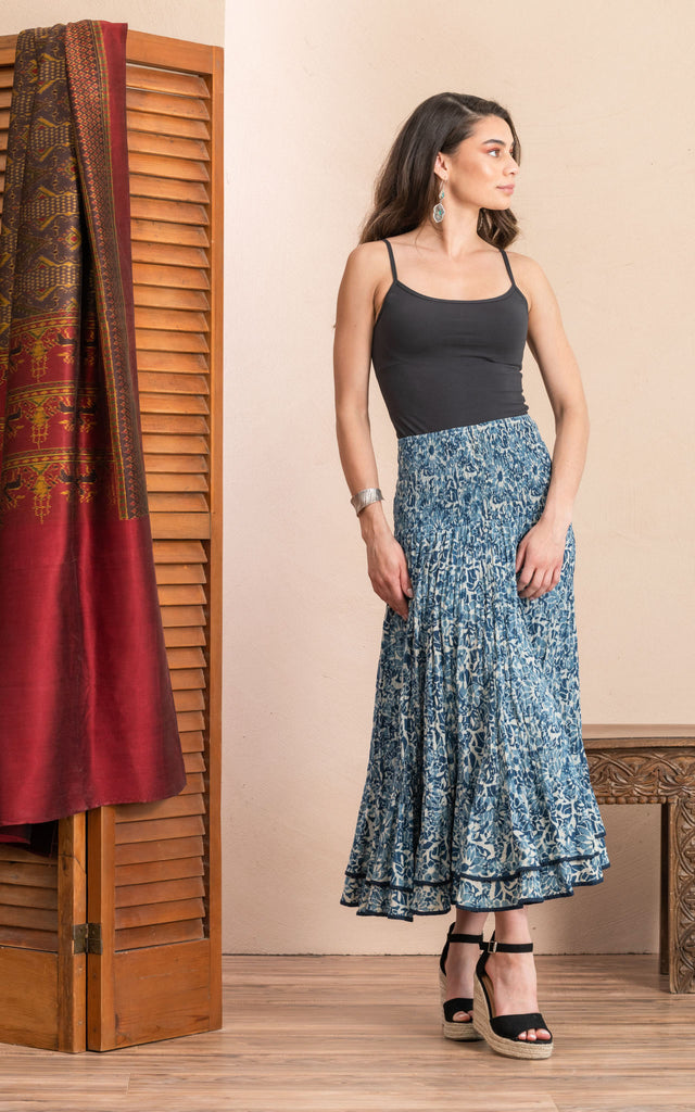 Macarena Skirt, Long, Indigo Mosaic