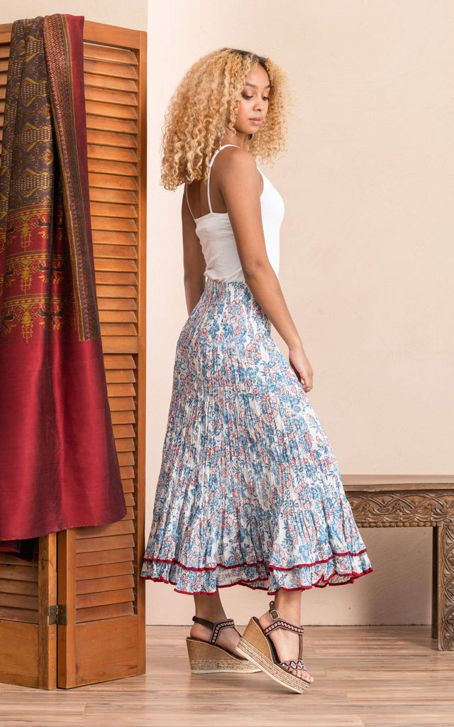 Macarena Skirt, Long, White Blossom